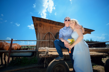 Newlyweds on horse farm