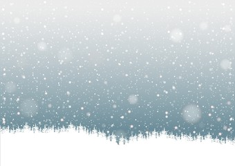 Falling Snow and Forest Silhouette