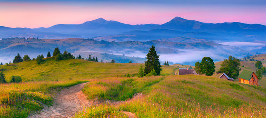 Colorful morning panorama of the morning mountains