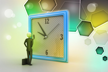 3d man watching the clock