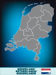 Karte der Niederlande in leuchtend blau
