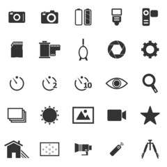 Camera icons on white background