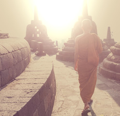 Monk in Borobudur