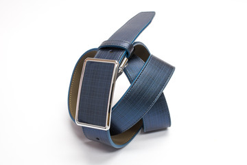 Blue Leather Belt Isolated