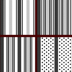 black and white vertical striped polka dot patterns