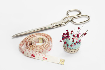 Scissors ,Tape Measuring and Needle
