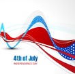 American flag independence day stylish wave whit background vect