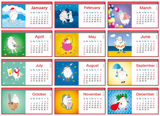 set of calendars for each month in 2015 with active sheep