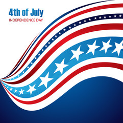 Vector 4th of july American Flag wave Independence Day design ve
