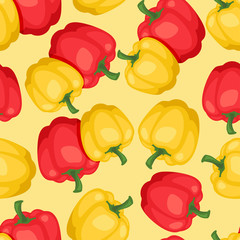 Seamless vector pattern with fresh ripe peppers.