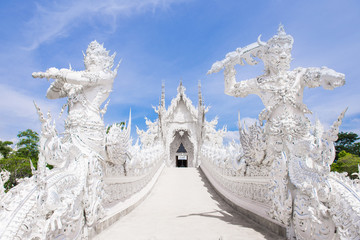 Famous Thailand temple or white temple, Wat Rong Khun,at Chiang