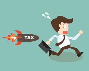 businessman runing away from rocket tax