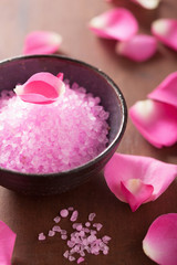 flower salt and rose petals for spa