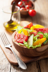 healthy salad with tomatoes cucumber and pepper