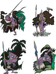 Funny African aborigines hunters