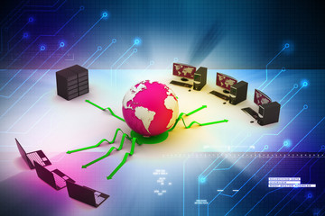 laptop with big server and globe. 3D Image