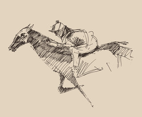 Rider on a horse (jockey) engraved style, hand drawn, sketch