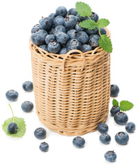 Blueberries in wicker basket