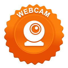 webcam sur bouton web denté orange