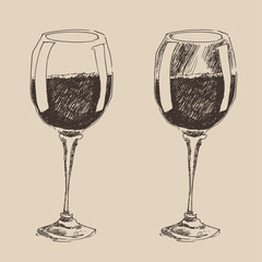 glasses of wine vintage illustration, engraved style, hand drawn
