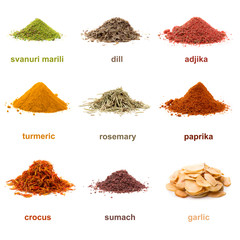 Heap ground spice isolated on white background