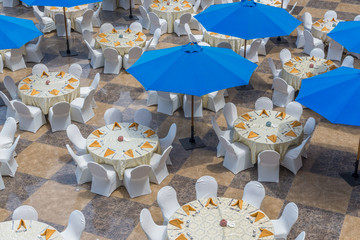 Restaurant Tables and Umbrellas