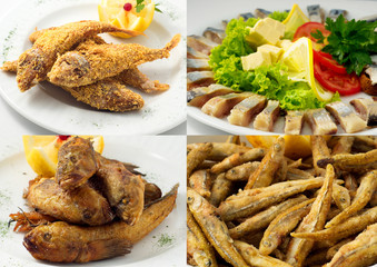 collage of frying fish and herring