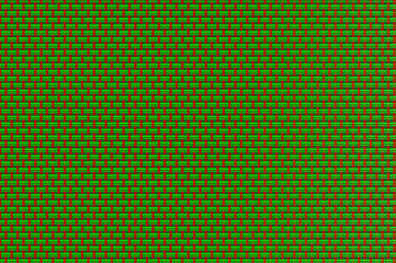 Intertwined grid - bright green and red tracery.