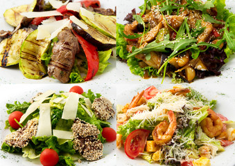 collage hot salads their veal, beef, shrimp, chicken