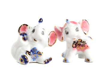 two  elephant of porcelain