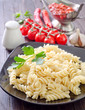 pasta on black plate