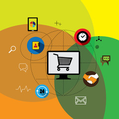 flat design vector web marketing & online ecommerce, shopping
