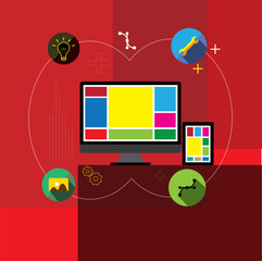 flat design vector app, application development & web design