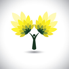 people tree icon with green leaves - eco concept vector.