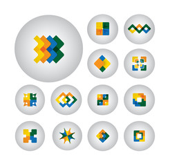 business symbols , design elements, flat icons - vector graphic