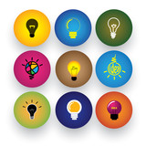 idea light bulb, brilliance, genius, smart, clever vector icons poster