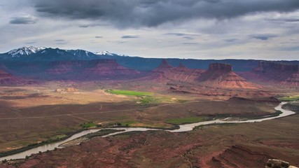 Colorado River Aerial 4K Timelapse from Professor Valley - Utah
