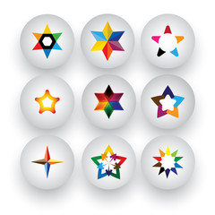 colorful star, christmas & navidad, rating, 3d badge vector icon