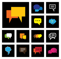 chat or speech bubbles vector icons set on black background