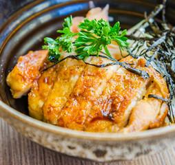 Teriyaki chicken on rice