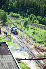 Aerial view of shunting train on industrial plant