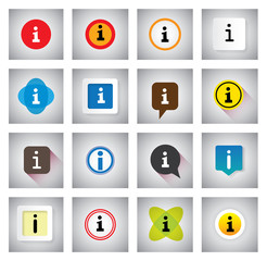info or information vector icons set on speech bubbles or chat s
