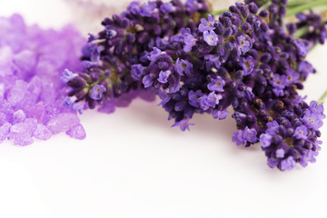 Lavender flowers and the bath salt - beauty treatment