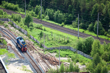 Shunting train on industrial plant