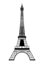 Eiffel Tower Silhouette isolated on white. Vector EPS10.