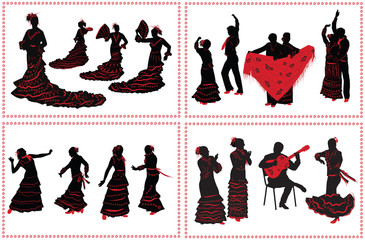 People dancing flamenco. Set of black and red silhouettes on whi