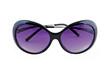 Stylish female sunglasses on white