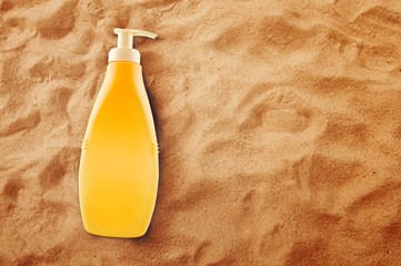 Bottle of Sunbath oil or sunscreen