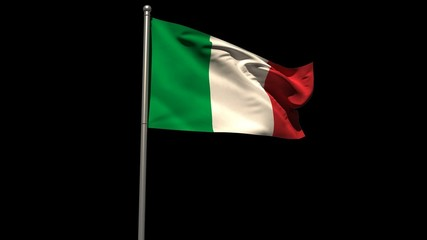 Italy national flag waving on flagpole
