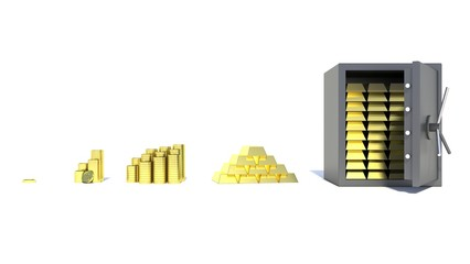 Opened safe with gold on white background